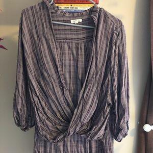 Purplish brown crossbody blouse